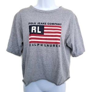 VTG Polo Jeans Co Ralph Lauren Flag Cropped Tee